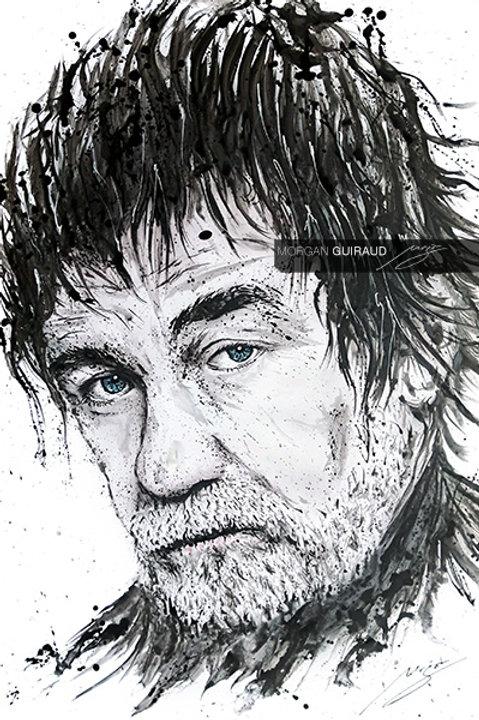 Olivier Marchal - Portrait Neo Pop Art - Variante sérigraphie peinture