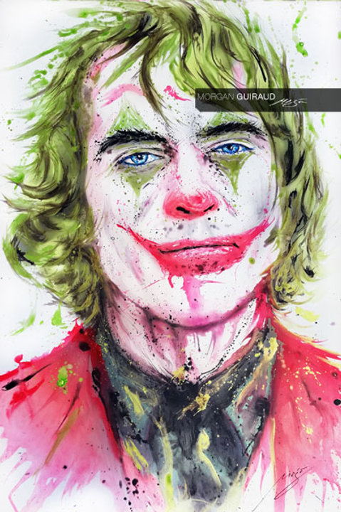 Joaquin Phoenix Joker Portrait Neo Pop Art Painting - Sillkscreen enhanced