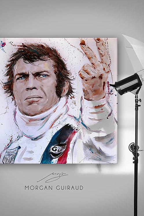 Steve McQueen Two Finger Le Mans Art - Hand finish Silkscreen Variant