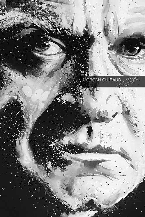 Johnny Cash, The Man in Black, Black and White Painting Art mixed media