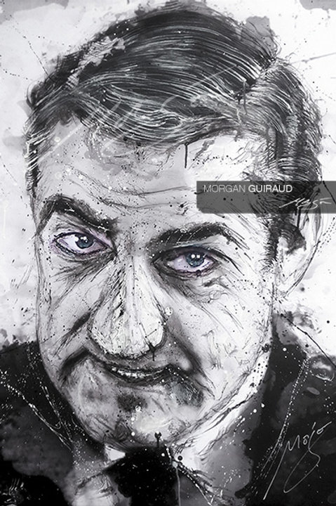 Lino Ventura - Portrait peinture dessin Neo Pop Art