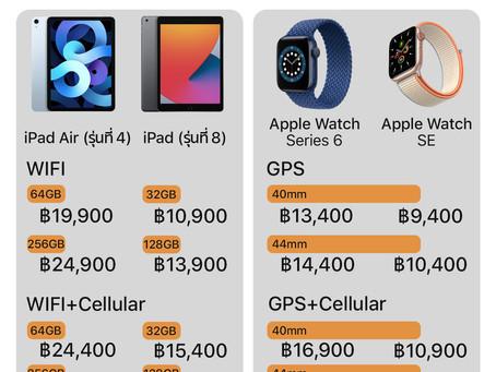 รวมราคาสินค้าออกใหม่ของ Apple