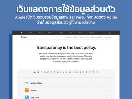 หน้าเว็บไซต์ รวบรวมข้อมูลแอพ 1st Party ทั้งหมดของ Apple