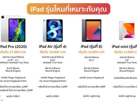 เปรียบเทียบราคาและสเปค iPad รุ่นที่วางขายในปัจจุบันทั้ง 4 รุ่น