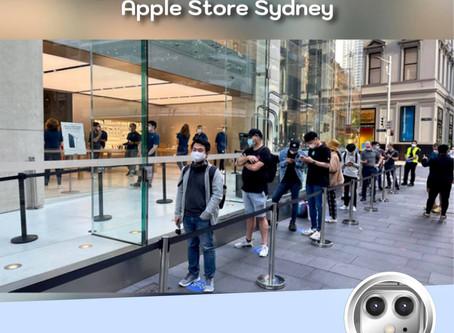 บรรยากาศการต่อคิวเพื่อรับ  iPhone 12 วันแรกของ Apple Sydney