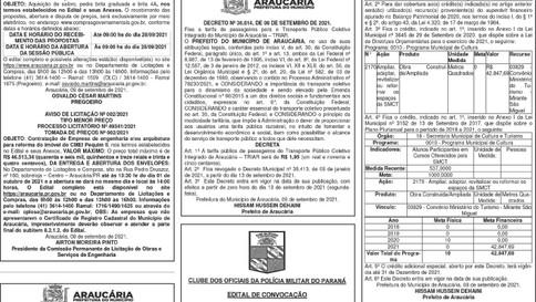 Publicidade Legal   Edital - 10/09/2021