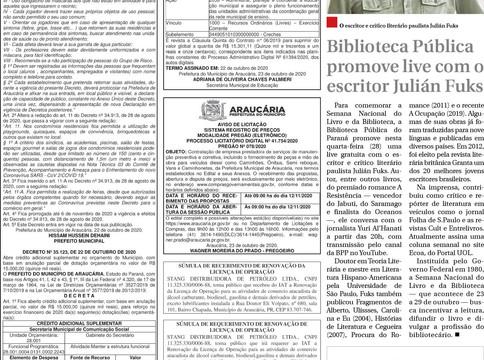 Publicidade Legal | Edital - 26/10/2020