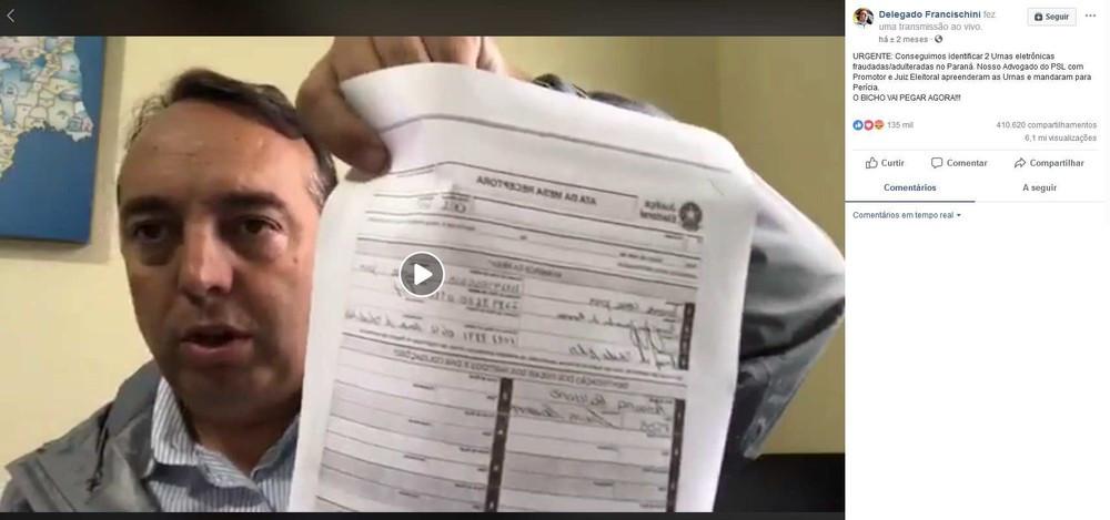 MPF pede a cassação de Francischini (PSL) por notícias falsas