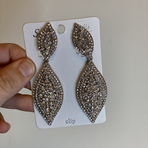 Silver Clip-On Rhinestone Earrings