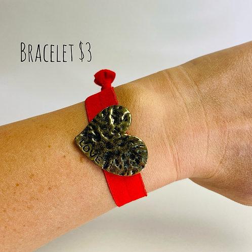 Red Heart Elastic Bracelet