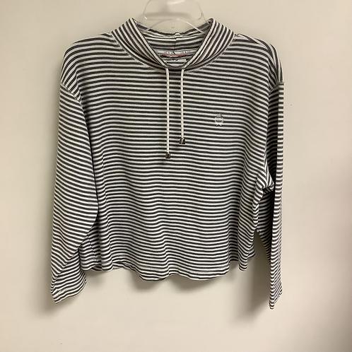 Grey/white striped long sleeve size L/XL