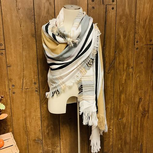 Plaid blanket scarf