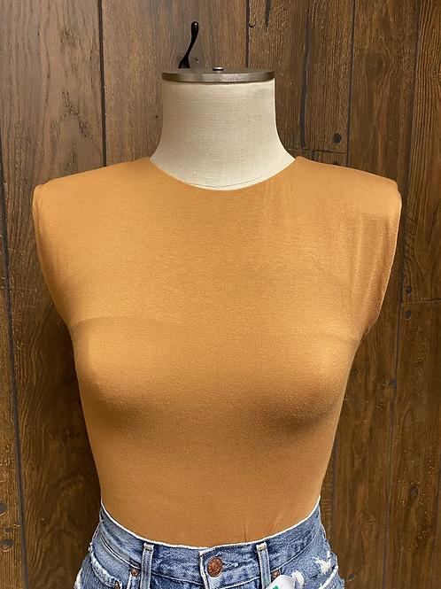 Forever 21 Burnt Orange Shoulder Pad Bodysuit
