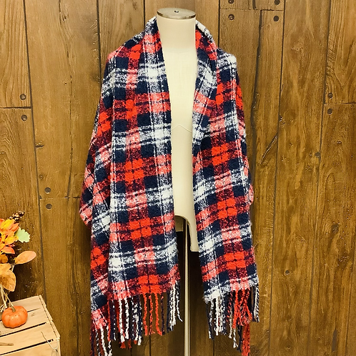 Red/white/blue blanket scarf