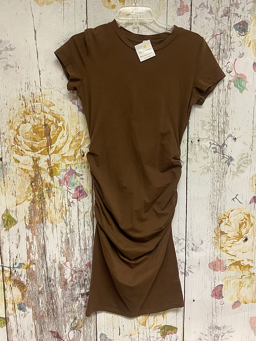 Size M Brown Ruched Dress