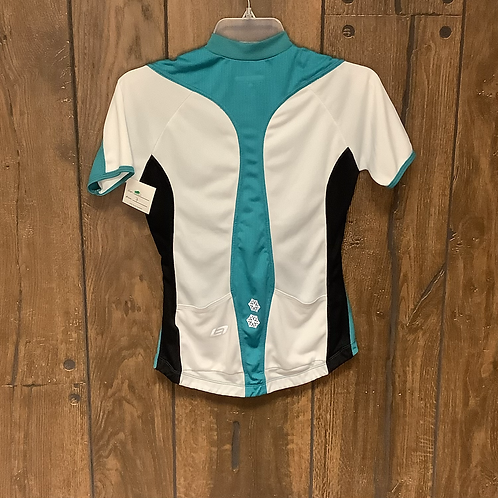 Bellweather teal,black,and white zip up short sleeve size S