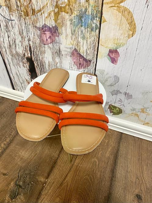 Size 6.5 orange/red sandals