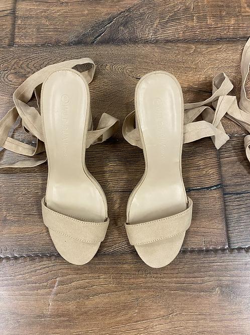 Size 8 Nude Strappy Tie Heels