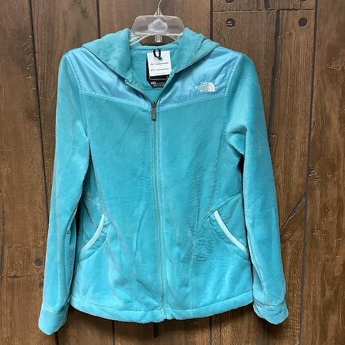Medium teal North face zip up hooded jacket