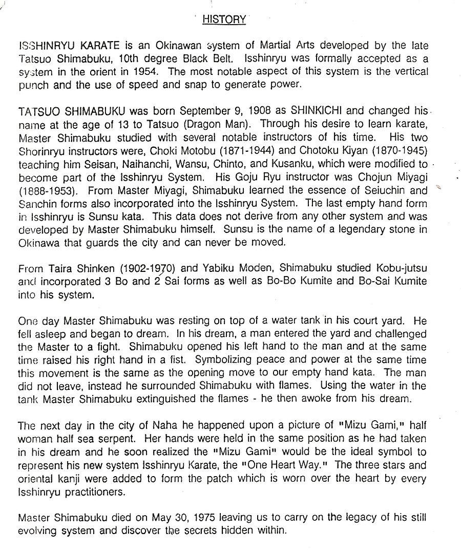 Proud History of Isshinryu