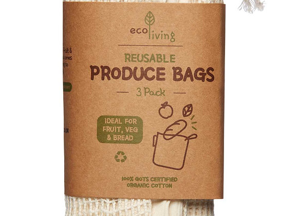 Organic Cotton Reusable Produce Bags (pack of 3)