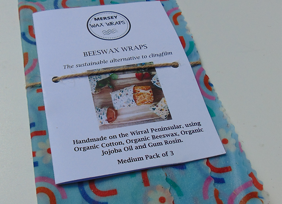 Organic Bees Wax Wrap Pack of 3 - Rainbows