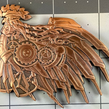 "AGK Geocoin: Kelley A., CO, Steampunk Rooster, ""Red Rock Rooster)"