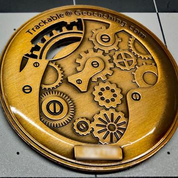 "AGK Geocoin: Nora G., GA, Steampunk Gears, ""Southern Charm"""