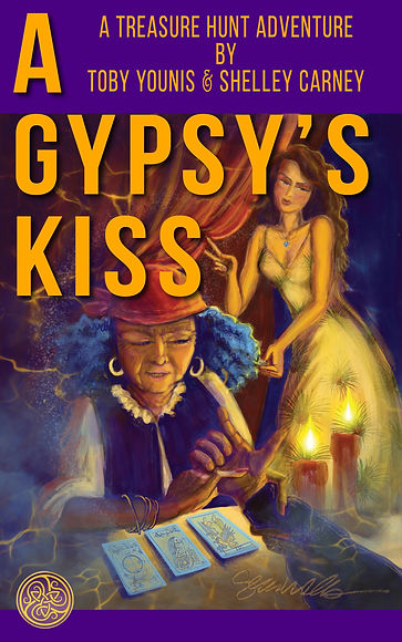 "Book cover for ""A Gypsy's Kiss"". A palm reader does her work in a smokey, candlelit room as a lady-of-the-night watches."