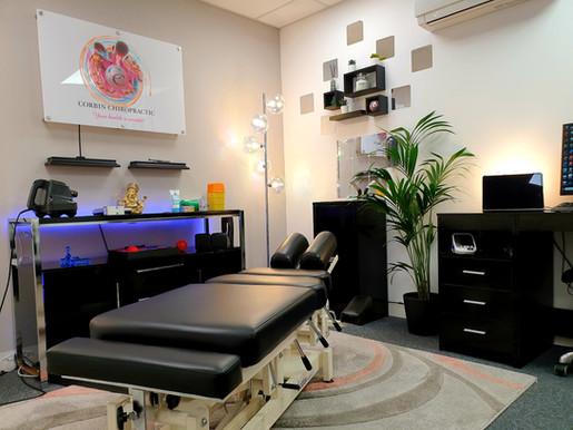 Corbin chiropractic treatment room in cardiff