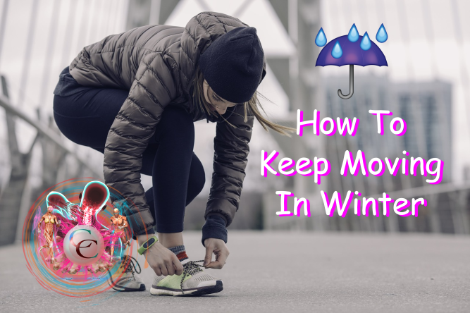 Woman getting ready to run outside in winter