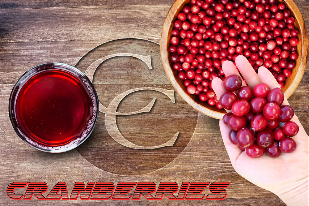 Chopping board with cranberries