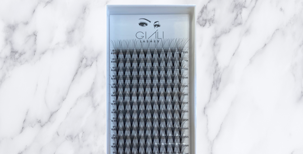 Giáli Lashes 14D 0.03 Short Stem Premade Volume Fans Lash Tray