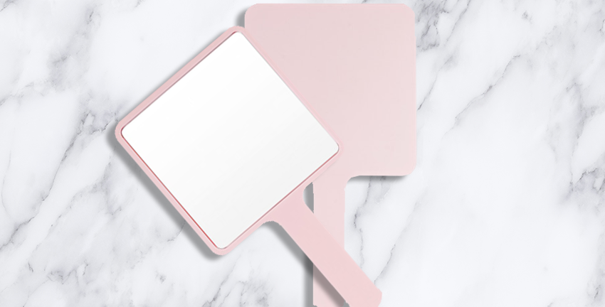 Small Pink Hand Held Mirror