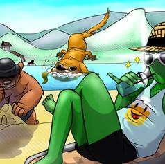Green guy and Kool dawg