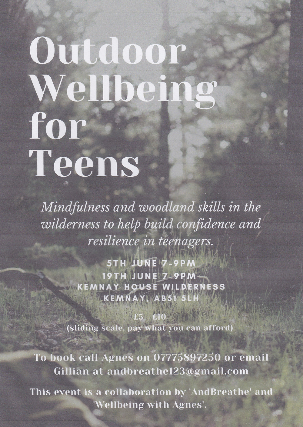 outdoor wellbeing course for teens