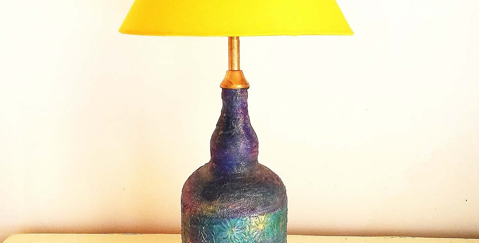 Rajasthan Glass Bottle Lamp Blue Gold