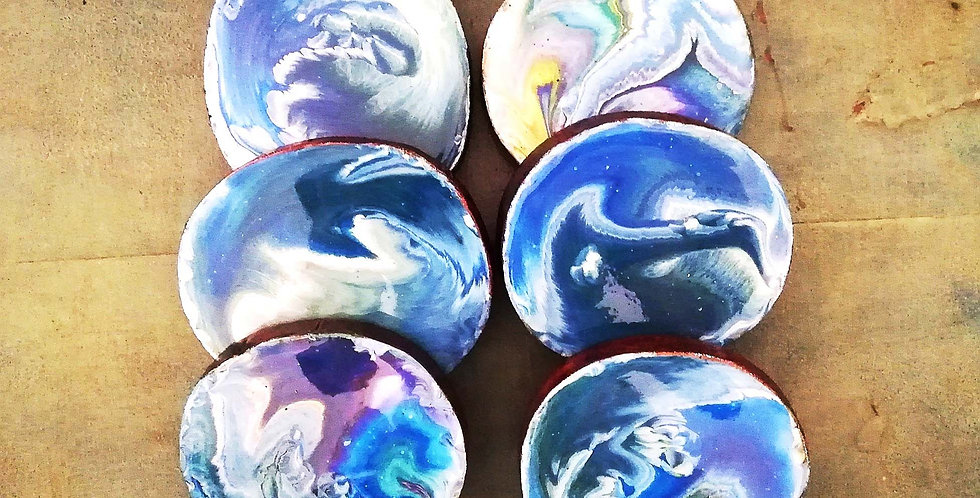 waves Resin & Wood Coasters (Set of 6)
