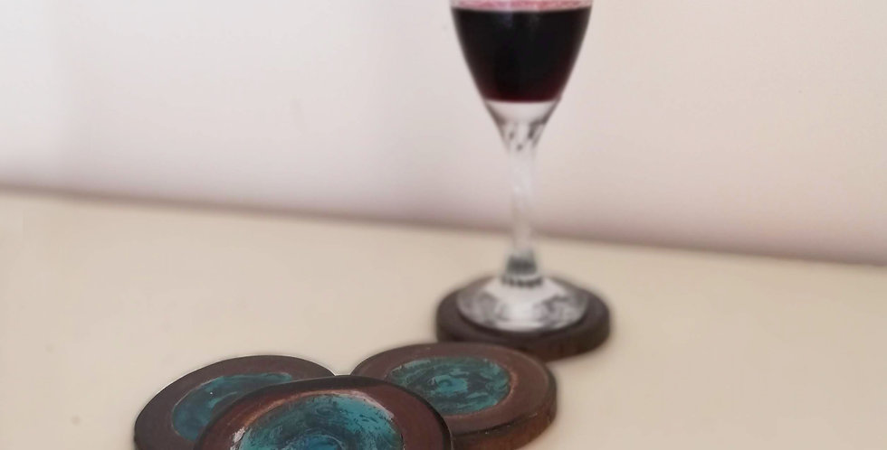 Resin & Dark Wood Coasters (Set of 4)