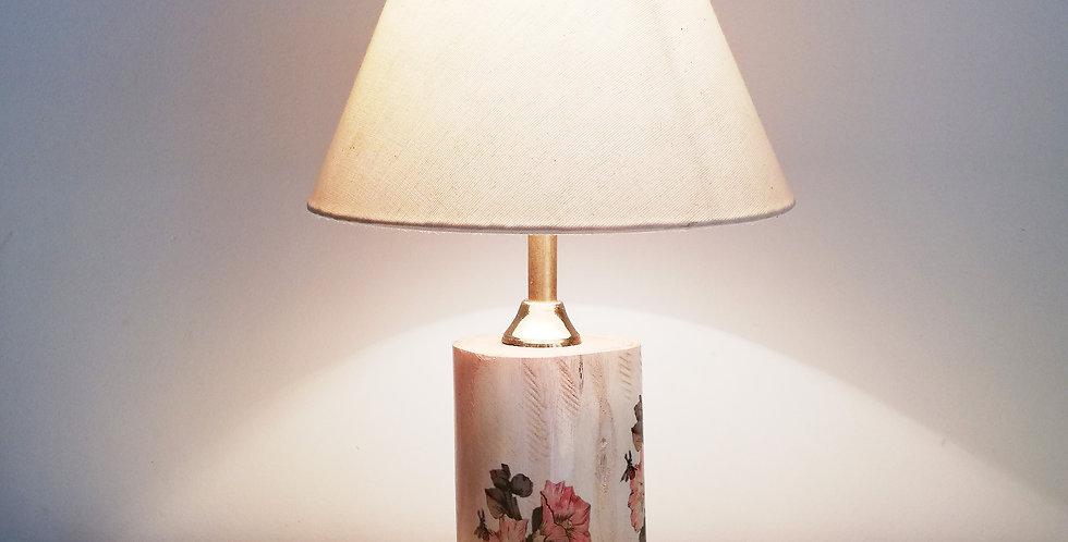 Tree Trunk Lamp: Hollyhocks