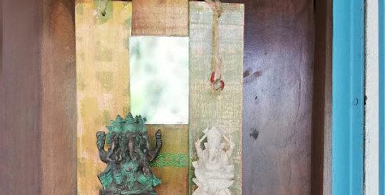 Wooden Distressed Mirror Shelf