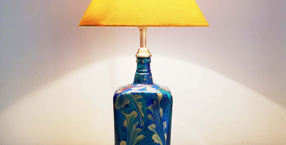 Abstract flowers in teal,blues and gold Glass Bottle Lamp