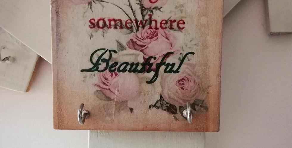 Somewhere Beautiful Wooden Hanger