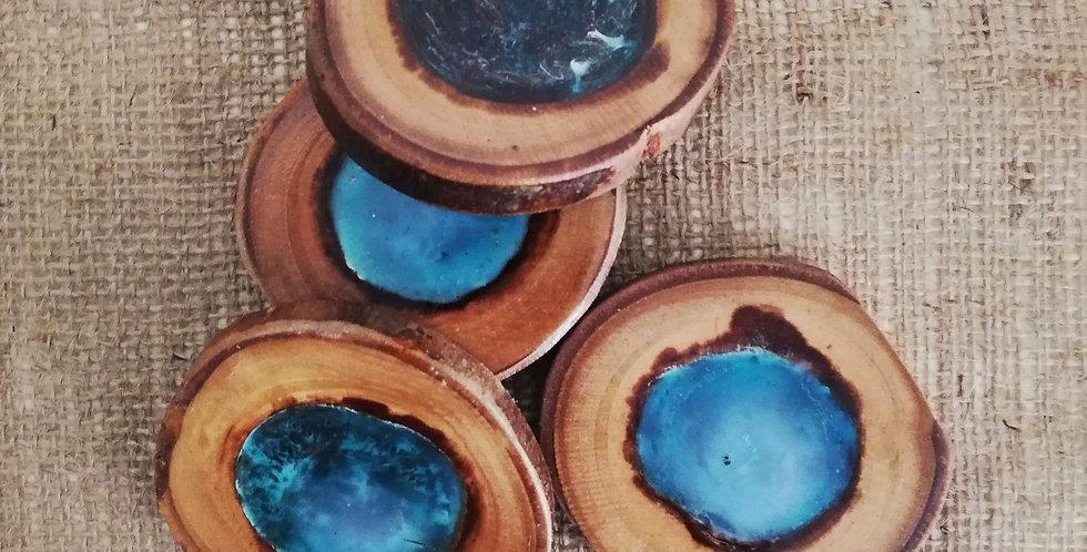 Resin & Light Wood Coasters (Set of 4)