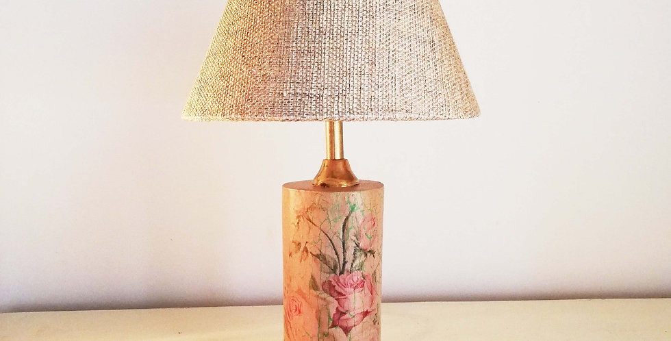 Tree Trunk Lamp: Tea Rose