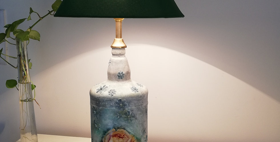 Yellow Rose Glass Bottle Lamp