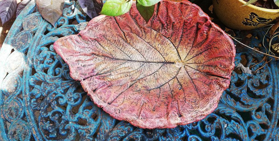 Concrete leaf birdbath Rust for garden or balcony decor