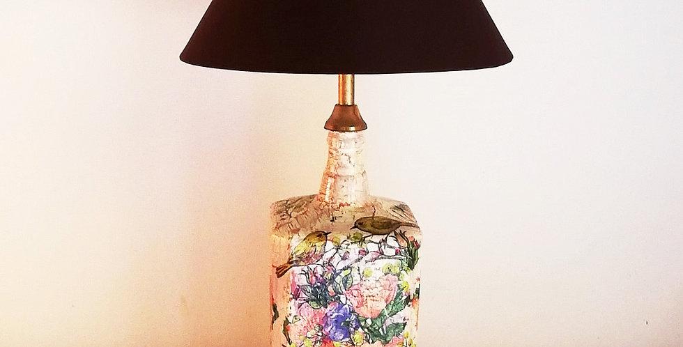 Spring Flowers Glass Bottle Lamp