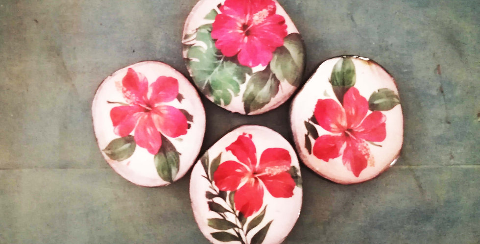 Hibiscus. Resin & Wood Coasters (Set of 4)