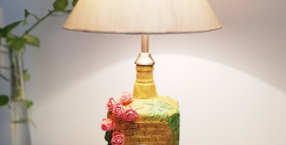 Yellow House Glass Bottle Lamp